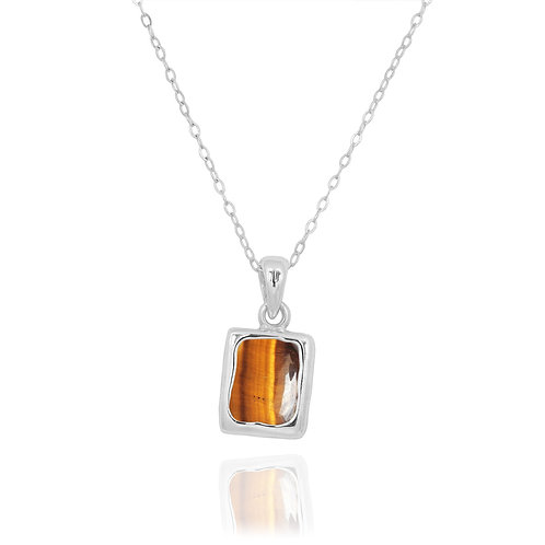 NP12332-BRTE - Classic Silver Pendant with a Rectangle Tiger Eye Piece