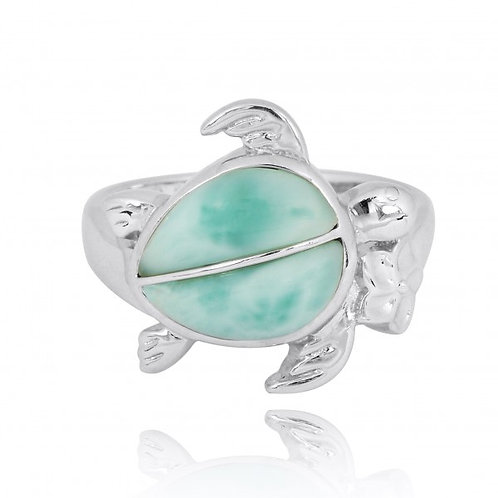 [NRB8366-LAR] Sterling Silver Turtle Ring with 2 Larimar Stones