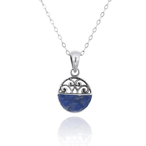 NP12200-LAP -  Elegant Silver Pendant with a Lapis Lazuli Piece