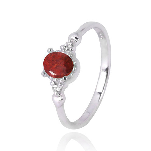 NRB4475-SPC  -  Oval Shape Sponge Coral Classic Ring
