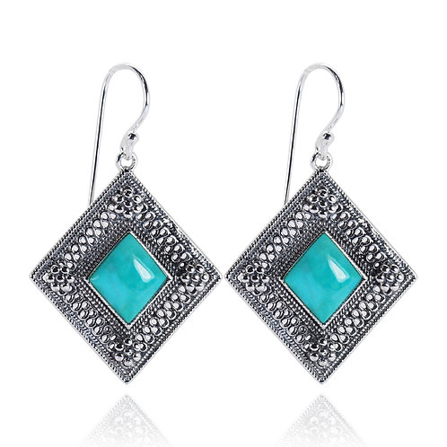 RSE1296-TQ - Sterling Silver Gemstome Earrings - Handmade Jewelry