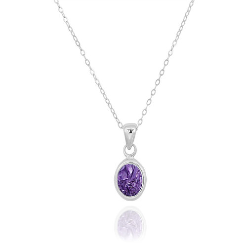 NP12337-CHR - Classic Oval Silver Pendant with a Charoite Piece