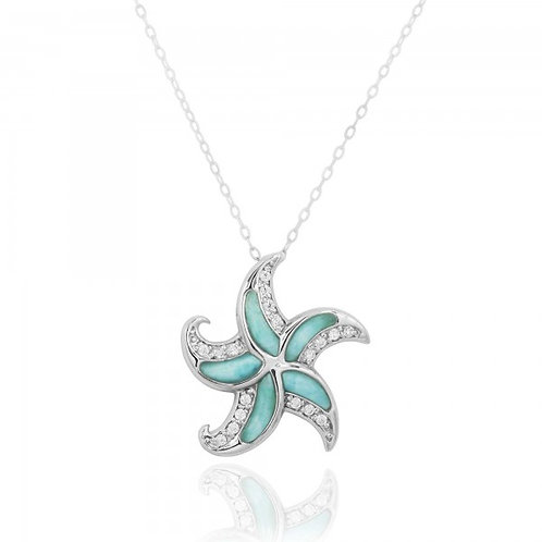 [NP10924-LAR-WHCZ] Sterling Silver Starfish with Larimar and CZ Pendant