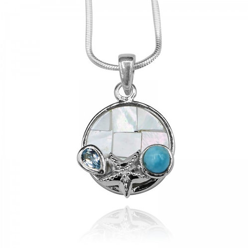 [KPG19-LAR] Round shape larimar with blue topaz , starfish , round mother of pea