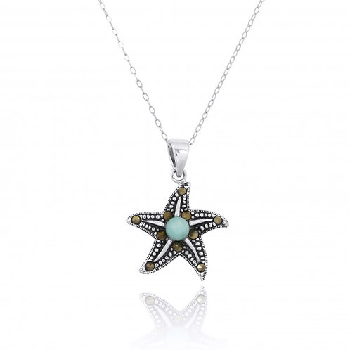 [NP11023-LAR-MRC] Sterling Silver Starfish Pendant with Marcasite and Round Lari