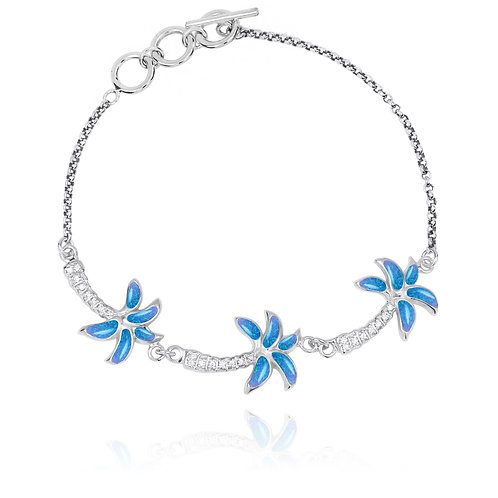 [NB1463-BLOP-WHCZ] Sterling Silver Palm Trees with S Blue Opal and White CZ