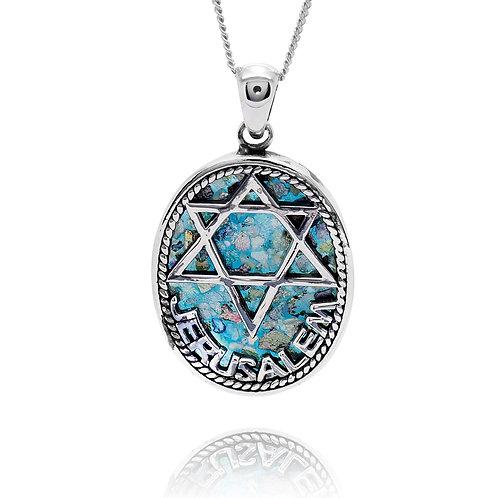 NP12275-RG - Israel Pendant - Star of David design , Oval Roman Glass Pendant
