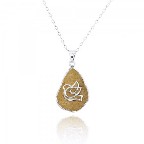 [NP11634-JRSL] Jerusalem Stone Pendant With Sterling Silver Dove