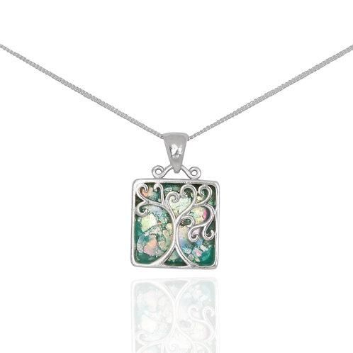 NP12420-RG - Elegant Tree of Life Square Roman Glass Pendant