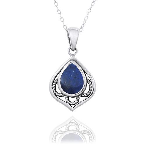NP12218-LAP -  Elegant Silver Pendant with a Pear Shape Lapis Lazuli Piece