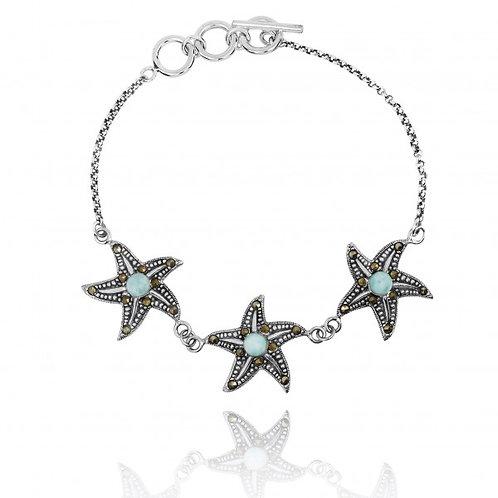 [NB1453-LAR-MRC] Triple Starfish with Larimar and Marcasite Sterling Silver Brac