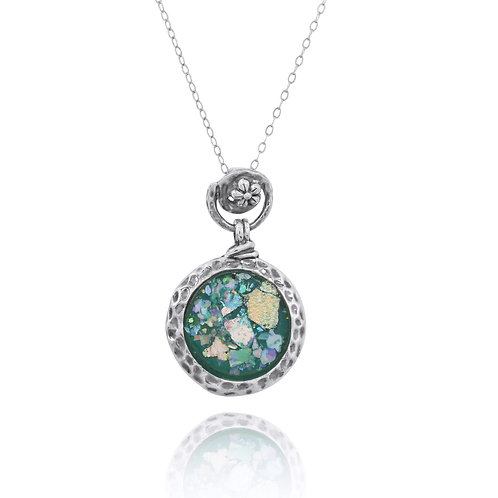 NP11601-RG - Roman Glass Pendant with FlowerDesign Top
