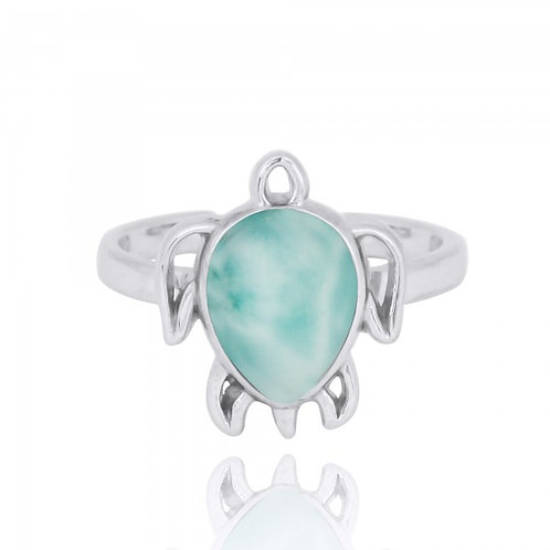 [NRB7821-LAR] Sterling Silver Turtle Ring with Larimar