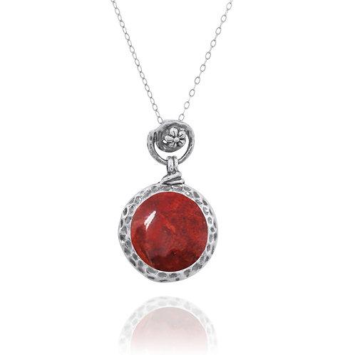 NP11601-SPC - Elegant Round Silver Pendant with Sponge Coral Piece - Flower Top