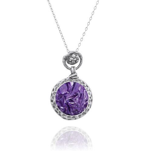 NP11601-CHR- Elegant Round Silver Pendant with Charoite Stone - Flower Top Desig