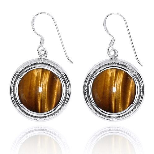 NEA2714-BRTE -Round Elegant Earrings with Tiger Eye Stones