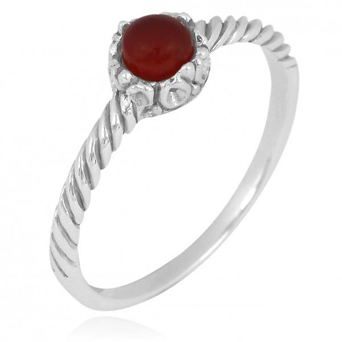 [NRB7355-CAR] Round Shape Carnelian Solitaire Ring