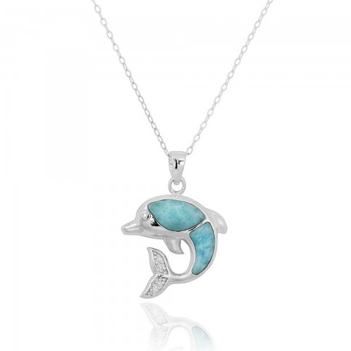 [NP10495-LAR-WHCZ] Sterling Silver Dolphin Pendant with Larimar and White CZ