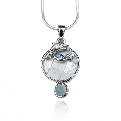 [KPG33-LAR] Round shape larimar , blue topaz , mother of pearl sea Dolphin penda
