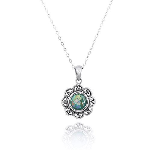 NP12223-RG - Floral Design Roman glass Pendant