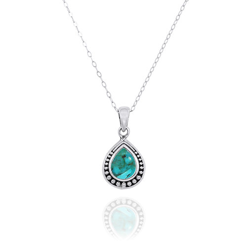 NP12366-GRTQ -  Drop Shape  Silver Pendant with a  Turquoise Piece