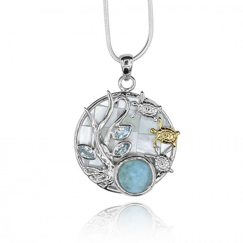 [KPG10-LAR] Pear shape larimar with sea tutle , round Mother of pearl pendant wi
