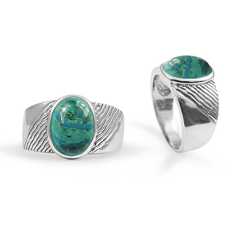 [NRB6796-CRY] Round Shape Chrysocolla Gemstone Ring