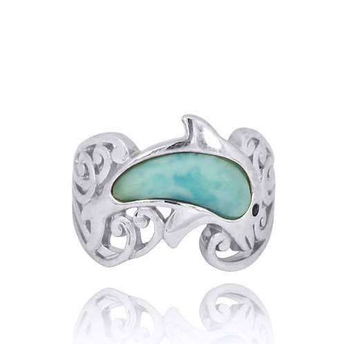 [NRB8362-LAR-BKSP] Sterling Silver Dolphin Ring with Larimar and Black Spinel