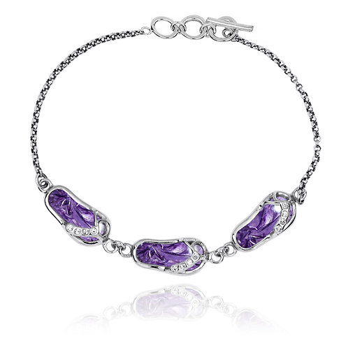 [NB1454-CHR-WHCZ] Sterling Silver Sandals Bracelet with Charoite and  CZ Chain