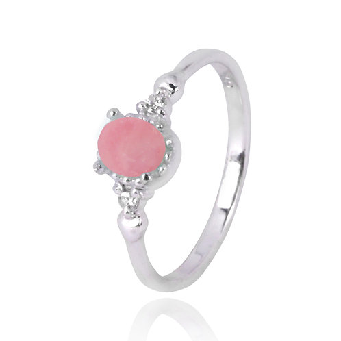 NRB4475-PPKOP  -  Oval Shape Peru Pink Opal Classic Ring