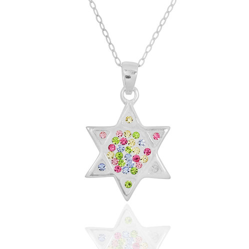 NP8263 - Star of David Blue Crystals Pendant