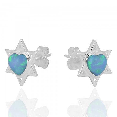[NES1103-SYOP] Star of David Earrings with Heart Shaped Opal