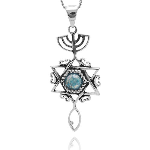 NP12311-RG - Classic MessianicPendant with Roman Glass