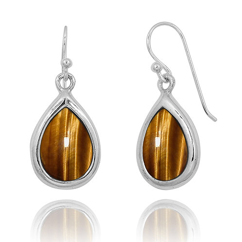 NEA3266-BRTE - Elegant Pear Shape Tiger Eye Earrings