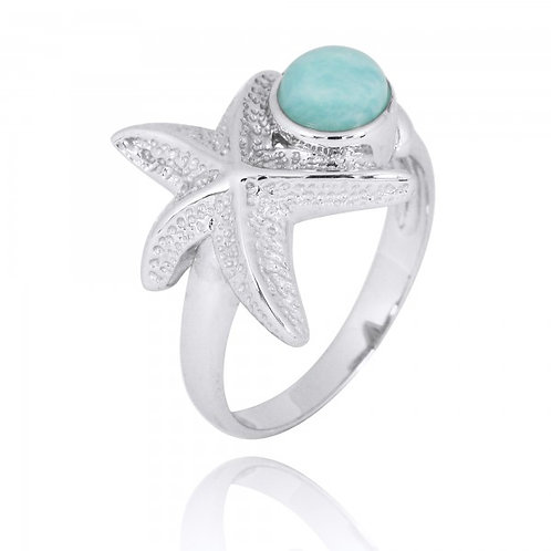 [NRB7225-LAR] Sterling Silver Starfish Ring with Round Larimar