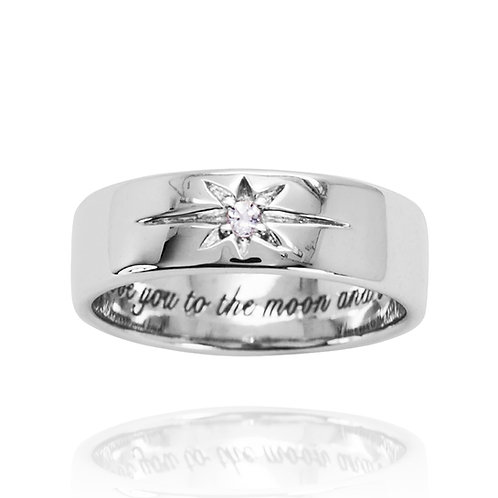 KRG6 - A CLASSIC SHINING STAR RING WITH LASER ENGRAVING AND BIRTHSTONE