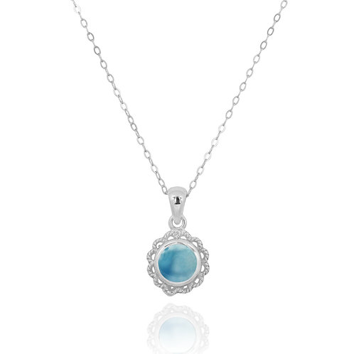 NP12340-LAR - Classic Round Flowery  Silver Pendant with a Larimar Piece