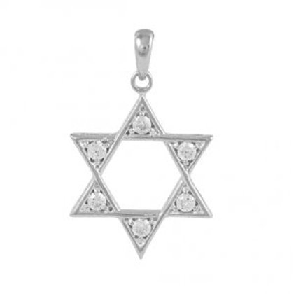 NP9626-R - Classic Star Of David pendant with Crystals