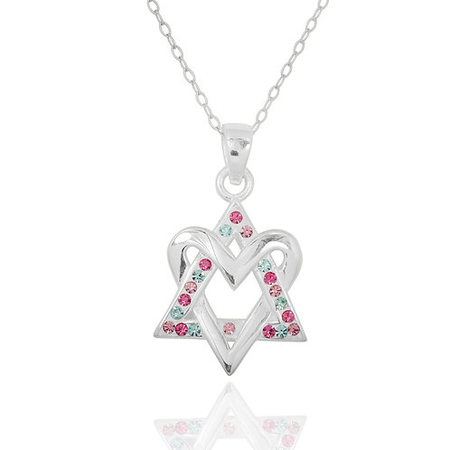 NP8246-1 - Heart Of David Pendant withBlue and White Crystals