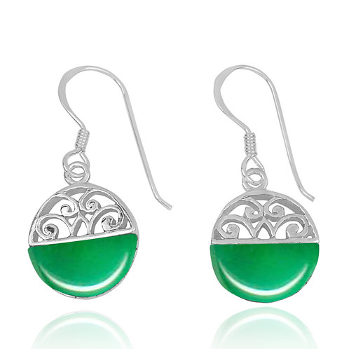 NEA2188-CRP -  Half Dome Shape Chrysoprase Ethnic Style Earrings