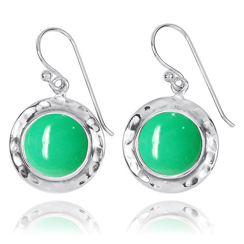 NEA3726-CRP - Round Classic Earrings with Chrysoprase Stones
