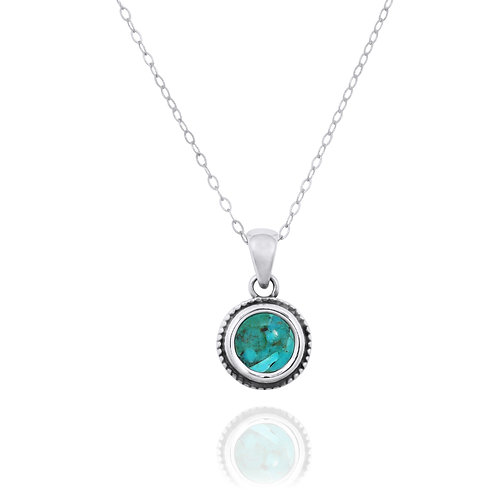 NP12206-GRTQ -  Elegant Round Silver Pendant with a Round Turquoise Piece
