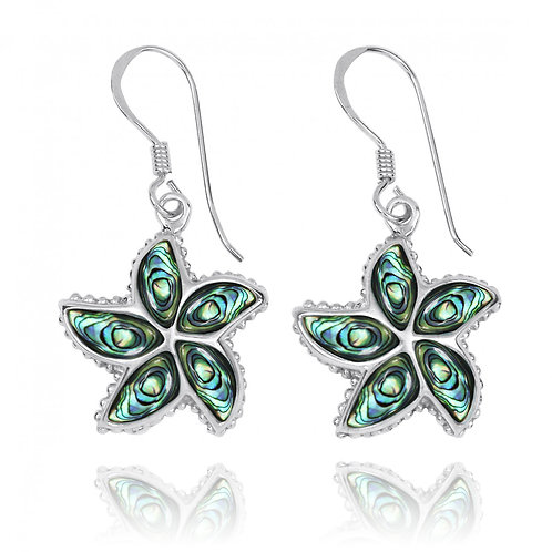 NEA3239-ABL - Unique Star Fish Earrings with Abalone