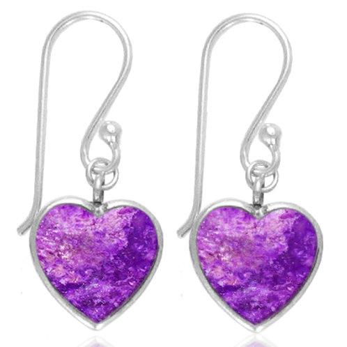 [NEA0242-SUG] Heart Shape Sugilite Drop Earrings