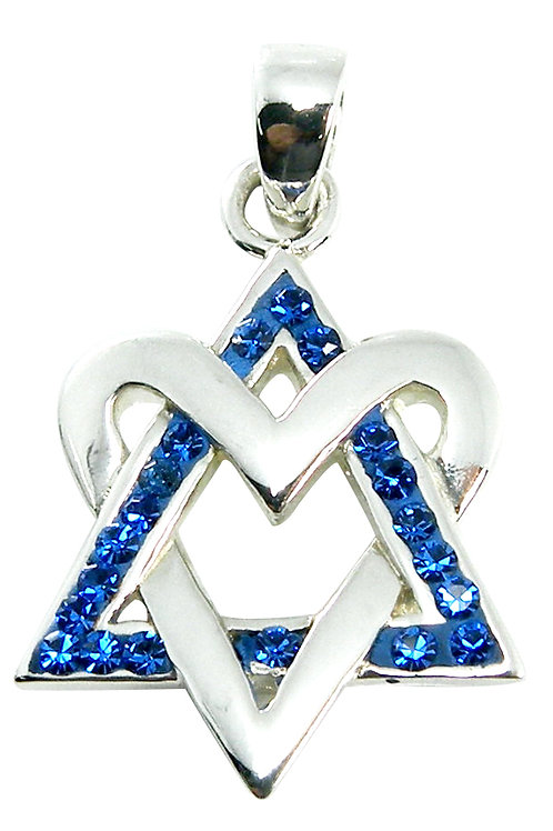 NP8247 -Heart Of David - Star Of David style pendant with Blue Crystals
