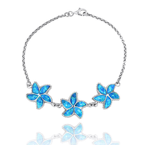 [NB1456-BLOP] Sterling Silver Starfish, Synthetic Blue Opal Chain Bracelet