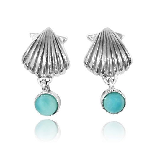 [NES3699-LAR] Sterling Silver Seashell Stud Earrings with Dangling Round Larimar