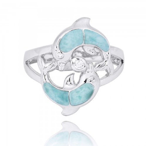 [NRB7223-LAR-WHCZ] Playing Sterling Silver Dolphins Ring with Larimar and White