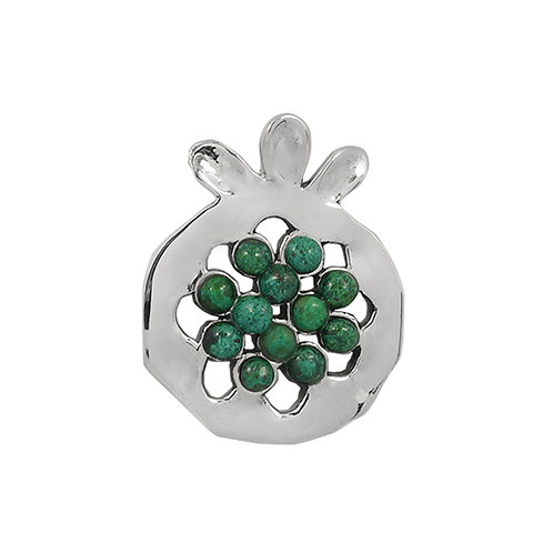 NP11906-CRY - Elegant Pomegranate  shape Silver Pendant with Chrysocolla  Pieces
