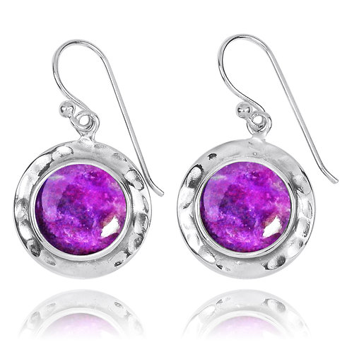 NEA3726-SUG- Round Classic Earrings with Sugilite Stones